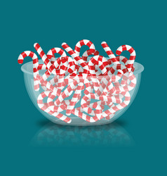 mint christmas candy in bowl peppermint stick vector image vector image