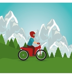 Motorcycle man riding landscape design vector