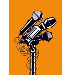 Music poster with microphones vector