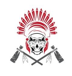 Native American chief skull in tribal headdress vector image vector image