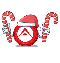 Santa with candy ark coin mascot cartoon vector