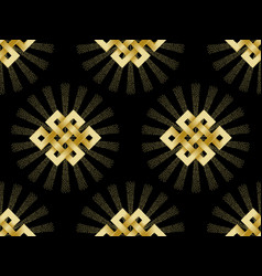 seamless pattern of gold endless knot vector image