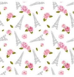 Seamless pattern with eiffel tower and roses on vector