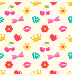 seamless pattern with stickers for girls vector image vector image