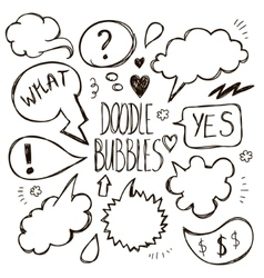 set of hand drawn doodle speech bubbles vector image