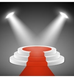 Spotlights illuminate stage pedestal with red vector image