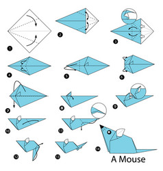 Step instructions how to make origami a mouse vector