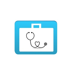 stethoscope on first aid box icon vector image vector image