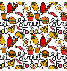street food seamless pattern vector image vector image