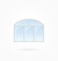 Threefold closed window with twofold arched top vector