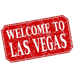 Welcome to las vegas red square grunge stamp vector