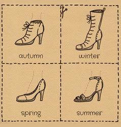 Woman shoes doodle set vector