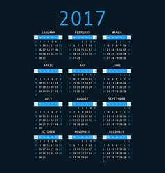 Calendar for 2017 on black background vertical vector