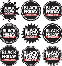 Black friday special offer black signs set vector