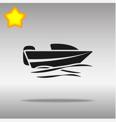 Black boat powerboat icon button logo symbol vector