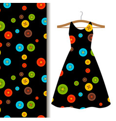 Women dress fabric pattern with buttons vector