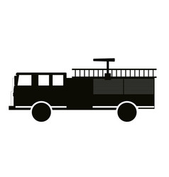 black and white fire truck flat design vector image