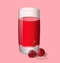 Full glass of cherry juice vector image