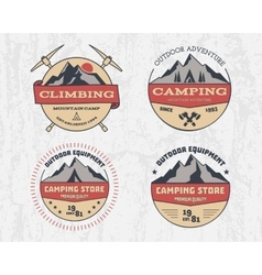 Set of retro color outdoor camping adventure and vector