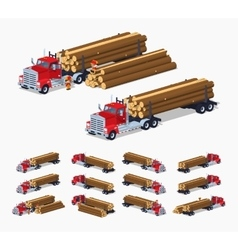 Log truck with the pile of logs vector