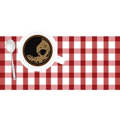 Cup of coffe aroma on tablecloth vector