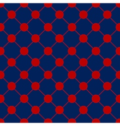 Red polka dot chess board grid navy blue vector