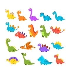 Cute cartoon dinosaurs set vector