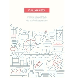 Italian pizza - line design brochure poster vector