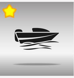 Black boat powerboat icon button logo symbol vector
