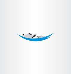 Boat in lake sign logo vector