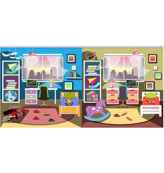 boy and girl room set vector image