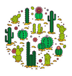 Cacti in the desert elements vector