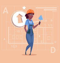 Cartoon female builder african american wearing vector