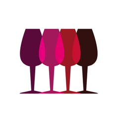 Color silhouette with set of glass cups vector