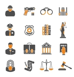 Crime and punishment two color icons vector