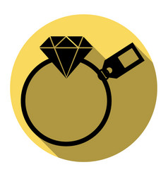 Diamond sign with tag flat black icon vector