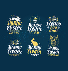easter label set handwritten beautiful lettering vector image vector image