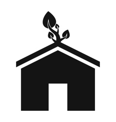 Eco house simple icon vector
