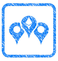 Ethereum map pointers framed stamp vector