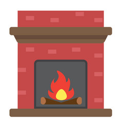 Fireplace flat icon furniture and interior vector