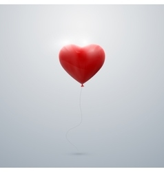 flying red balloon heart vector image