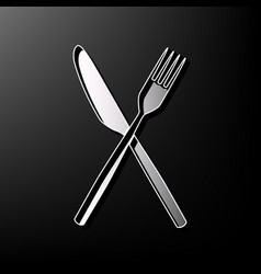 Fork and knife sign gray 3d printed icon vector