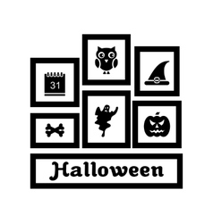Frames with Halloween Traditional Symbols vector image vector image