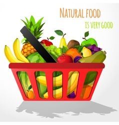 Fruits in shopping basket poster vector