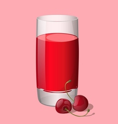 Full glass of cherry juice vector image vector image