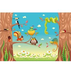 Funny animals on branches vector image vector image