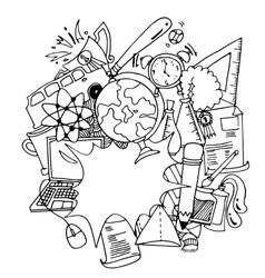 Funny doodle art school education vector image