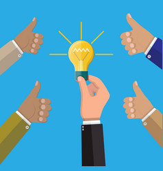 glass light bulb in hand vector image vector image