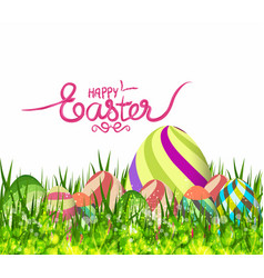 happy easter eggs spring background with grass vector image vector image