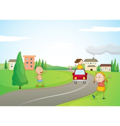 kids a car and a road vector image